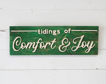 Tidings of Comfort and Joy Vintage Wood Sign - cute Christmas sign - cheap - free shipping