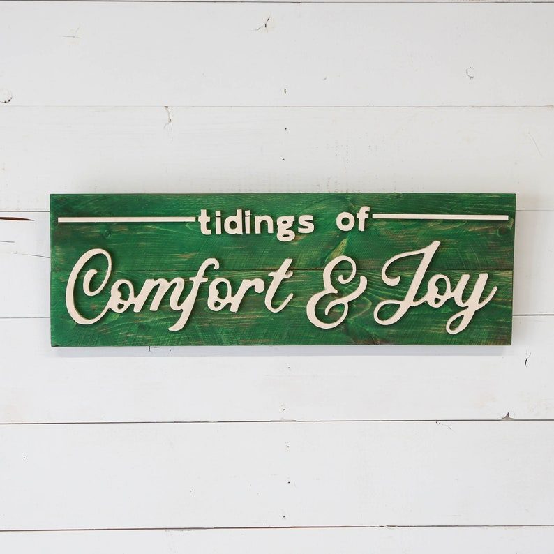 Tidings of Comfort and Joy Vintage Wood Sign image 0