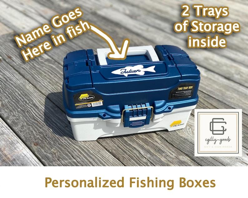 Personalized 2 Tray Fishing Tackle Box  Free Shipping image 1