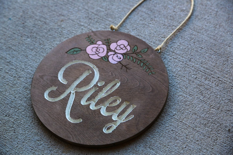Cute Vintage Flower Girl Wood Name Sign image 0