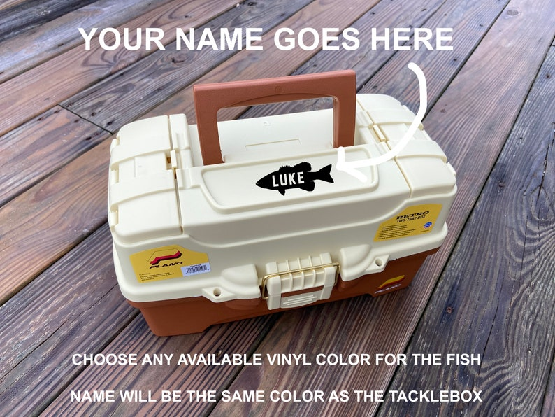 Personalized  Old Fashion Plano 2-Tray Fishing Tackle Box image 0
