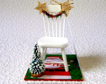 Christmas in Heaven ornament – miniature Christmas scene with poem, for tree or table top, memorial keepsake, empty chair poem, bereavement