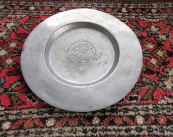 Antique 1800's European PEWTER CHARGER- Plate- Hallmarked-Design In Center