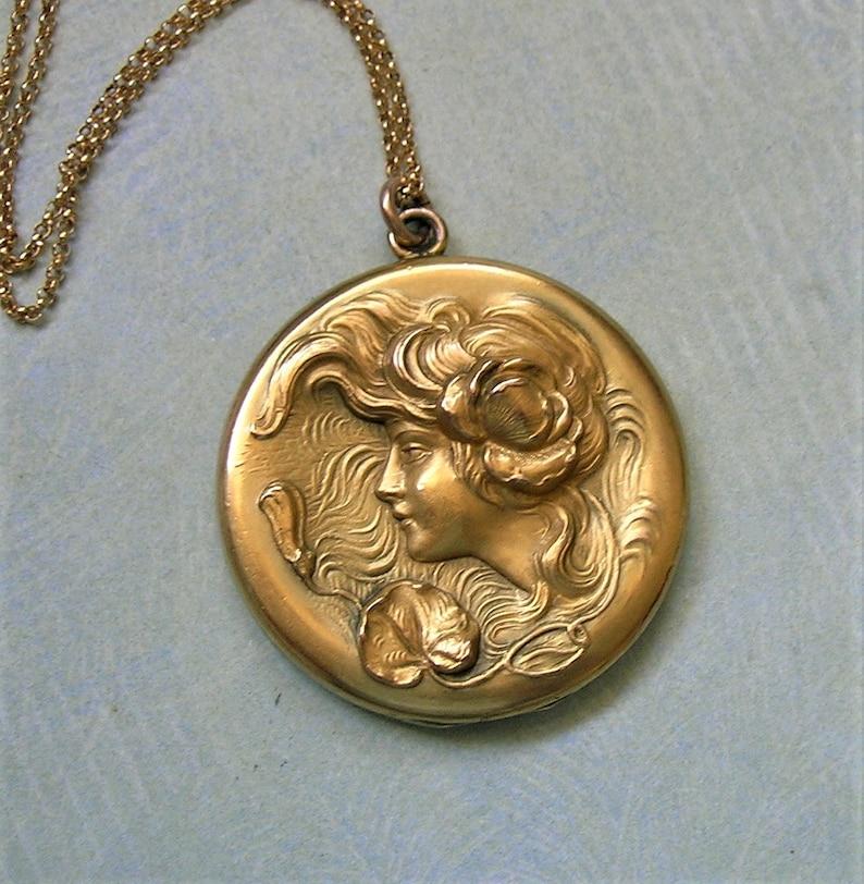 Antique Gold Filled Locket With Nouveau Design L339 Gift for Her Antique Art Nouveau Locket Necklace With Woman Figural Locket