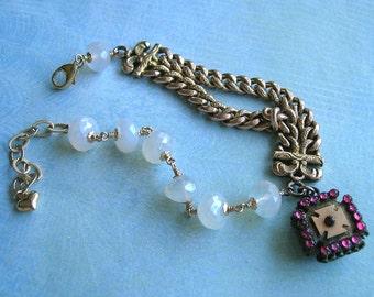 Victorian Watch Fob Assemblage Bracelet With Chalcedony Gemstones, Assemblage Bracelet, Old Watch Fob Bracelet (#B060)