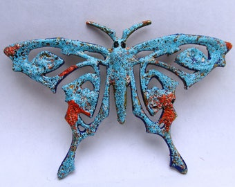 Butterfly Brooch Blue enameled brooch vintage bronze with nautical look from below the sea