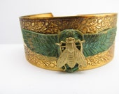 Art Deco Style Vintage Bee bracelet Scarab cuff Egyptian revival Brass Cuff scarabs or Napoleonic Bees BRACELET
