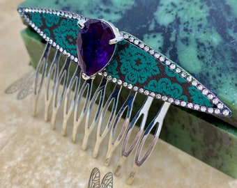 Opal Art Deco Hair Clip Barrette Classic Hair clips Silver and Crystal Faux Opal MyElegantThings