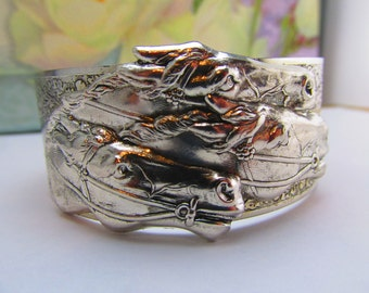 Horse jewelry Equestrian jewelry Horse bracelet Derby cuff silver over bronze Top Seller Top Selling Store Angelina Verbuni Design Studio