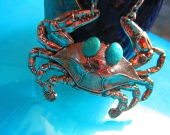 Crab Necklace Vintage Necklace Large Statement Piece Blue Crab With Genuine  Turquoise Eyes