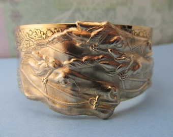Derby bracelet Racehorse gold Engraved Vintage cuff Equine jewelry Horse Cuff Womens bracelets
