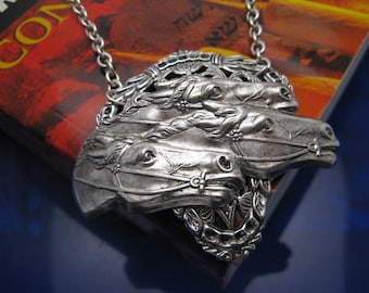 Silver Race Horse Necklace derby Jewelry equestrian jewelry Gorgeous OOAK Equestrian necklace equine jewelry