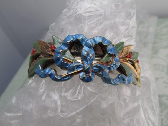 Poney queue porte mariée cheveux barrette floral pièce de tête feuille Art Nouveau Vintage et noeud barrette Holly berry cadeaux demoiselles d'honneur