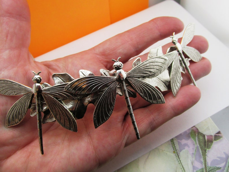 Dragonfly barrette Art Deco style hair clip Gorgeous dragonflys Bridal Hair barrette Art Nouveau