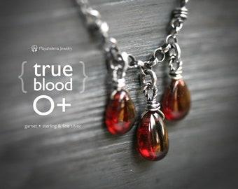 True Blood 0+ - Triple Pyrope Garnet Wire Wrapped Sterling Silver Necklace - January Birthstone