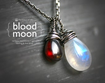 Blood Moon Rainbow Moonstone Red Garnet Sterling Silver Charm Necklace