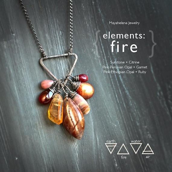 Elements Fire Alchemy Symbolism Sterling Silver Pendant Etsy