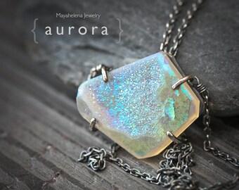 SALE - Aurora - White Titanium Coated Druzy Sterling Silver Necklace