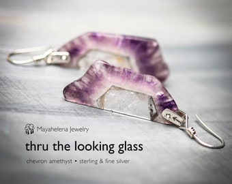 Thru the Looking Glass - Chevron Amethyst Slices Riveted Sterling Silver Earrings