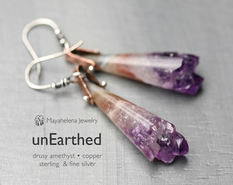 unEarthed - Amethyst Druzy Cones Riveted Mixed Metal Copper Sterling Silver Earrings