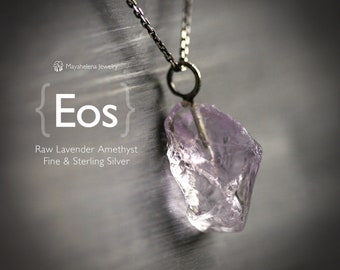 Eos - Raw Lavender Amethyst Nugget Sterling Silver Necklace