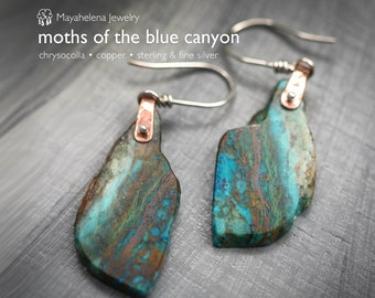 Moths of the Blue Canyon - Chrysocolla Slices Riveted Mixed Metal Copper Sterling Silver Earrings