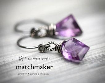 Matchmaker - Faceted Amethyst Briolette Sterling Silver Earrings