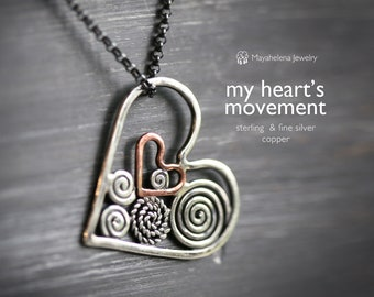 My Heart's Movement - Swirly Sterling Silver Filigree Heart Two-in-One Necklace