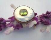 Peridot White Pearl Ring ...
