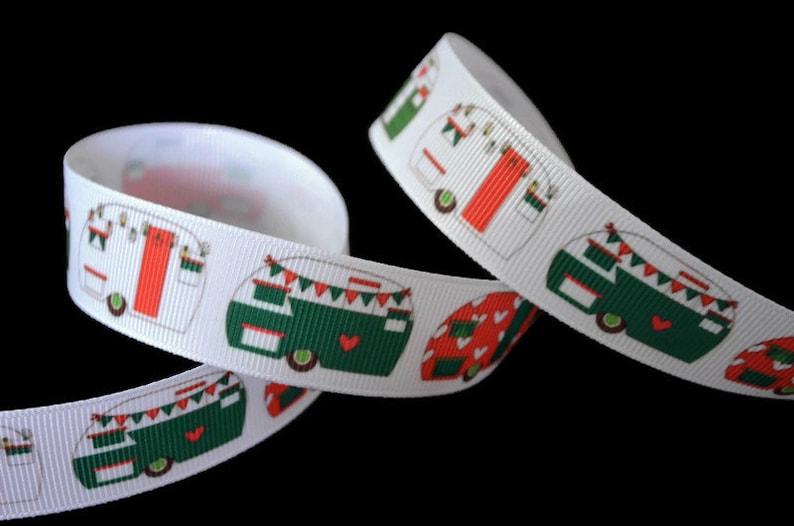 Christmas Vintage Retro Camper Trailer Grosgrain Ribbon