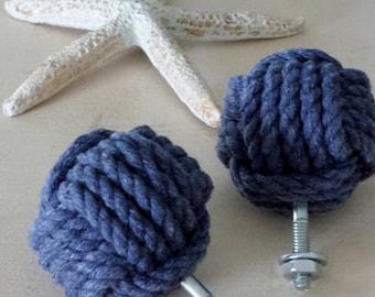 Monkey Fist Drawer Pulls- Set of Two - Blue