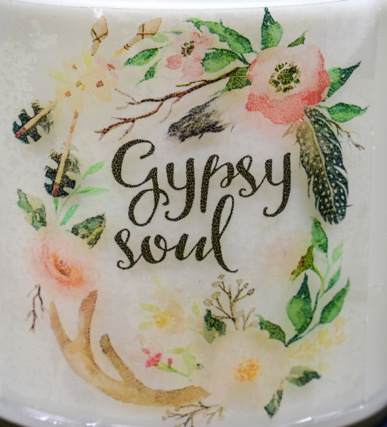 Gypsy Soul Hand Poured Soy Wax Candle 9 oz Housewarming Gift Choose Your Fragrance InspirationalScripture Watercolor