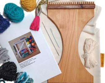 Handheld Traveler's Weaving Loom Kit   Small Beginner DIY Gifts   Travel Loom   Learn to Weave Wall Hanging   Portable Weaver Tools