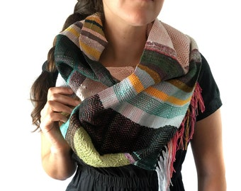 Alex   Woven Luxury Multicolor Scarf   Handwoven Green + Neutral Striped Tapestry Scarf   Unisex Fashion Accessories   Woven Gifts   J34