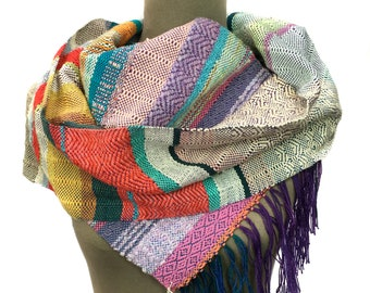 Coraline   Handwoven Modern Pastel Striped Scarf   Women's Handmade Fashion   Woven Luxe Gifts for Her   Vibrant Patterned Textile   J1