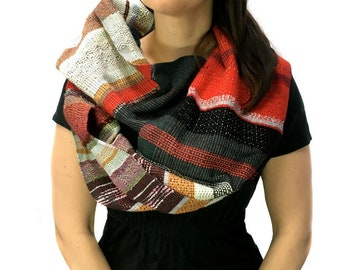 Poppy   Handwoven Red Textured Scarf   Colorful Womens Fashion   Woven Gifts for Men and Women   Chevron + Diamond Patterned Scarf   J4