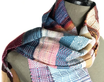 Rachael   Handwoven Pink + Blue Heirloom Scarf   Colorful Striped Woven Textile   Loomed Holiday Gift   Zigzag Woven pidge pidge Scarf   J35