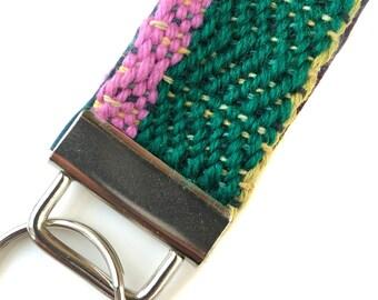 Handwoven Gifts for Her   Emerald Chevron Key Fob   Colorblock Key Fob Wristlet   Green Textured Keychain   pidgepidge Weaving Loom
