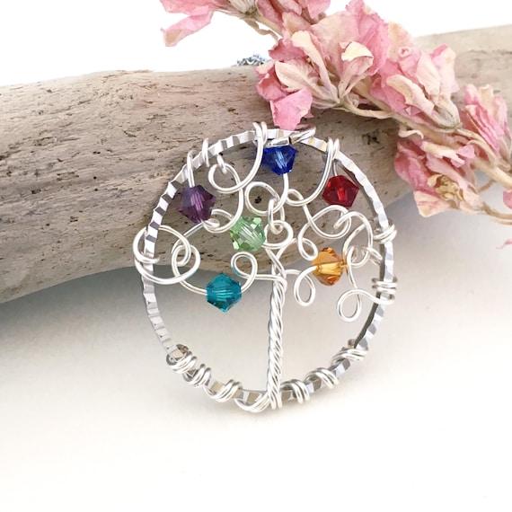 Family Tree Necklace Family Tree Jewelry Birthstone | Etsy