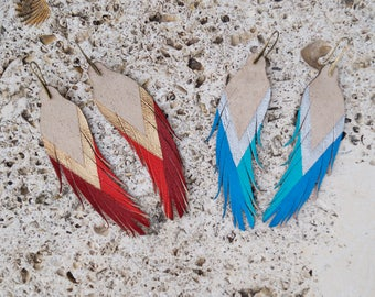 """Short Feather Earrings - Disco - Leather Feather Earrings - 4.5"""" Stone Suede with your choice of color"""