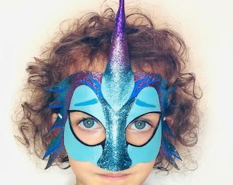 Dragon Mask - Sisu Mask - Raya and the Last Dragon - Halloween - Purim - Costume - Dress Up - Turquoise - Purple