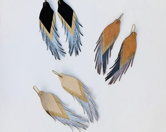 """Short Feather Earrings - Leather Feather Earrings - 4.5"""" Silver, Silver Glitter and Gold"""