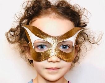 Superhero Gold Glitter Mask - Leather Mask - Costume - Cosplay - Dress Up - Pretend - Make Believe - Halloween - Purim - Kids - White