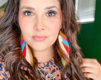 """Modern Sunset LONG Feather Earrings - Leather Feather Jewelry - 6.25"""" Tan Suede with red, pink, yellow, turquoise and fuchsia"""