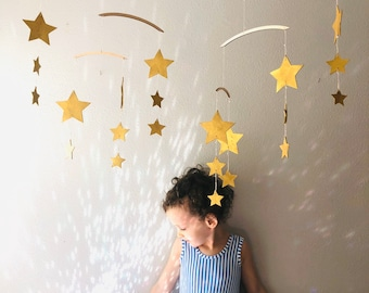Starry Starry Night Large Mobile - Star Mobile - Baby Mobile - Celestial Mobile - Kids Mobile - Gold Star Mobile