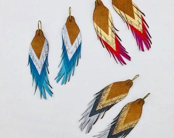 "Short Feather Earrings - Leather Feather Earrings - 4.5"""