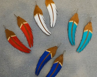 """SHORT Leather Feather Earrings - 4.5"""" Tan Suede with Two Colors - Painted Feather Earrings - Bohemian Earrings - Statement Earrings"""