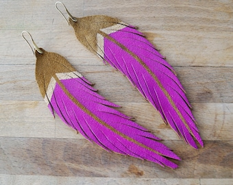 """LONG Amber Suede with Fuchsia & Gold Paint - Feather Earrings - 6.25"""""""
