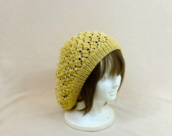 Slouchy Hat - Oversized Beaded Beanie - Yellow Lace Tam With Beads - Large Knit Beret - Lacy Dread Baggy Hat - Silver Beaded Snood