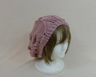 Pink Slouchy Beanie Hat - Rose Lace Baggy Beret - Knit Large Slouch Tam Dread Hair - Bad Hair Day Hat - Headwear Toque